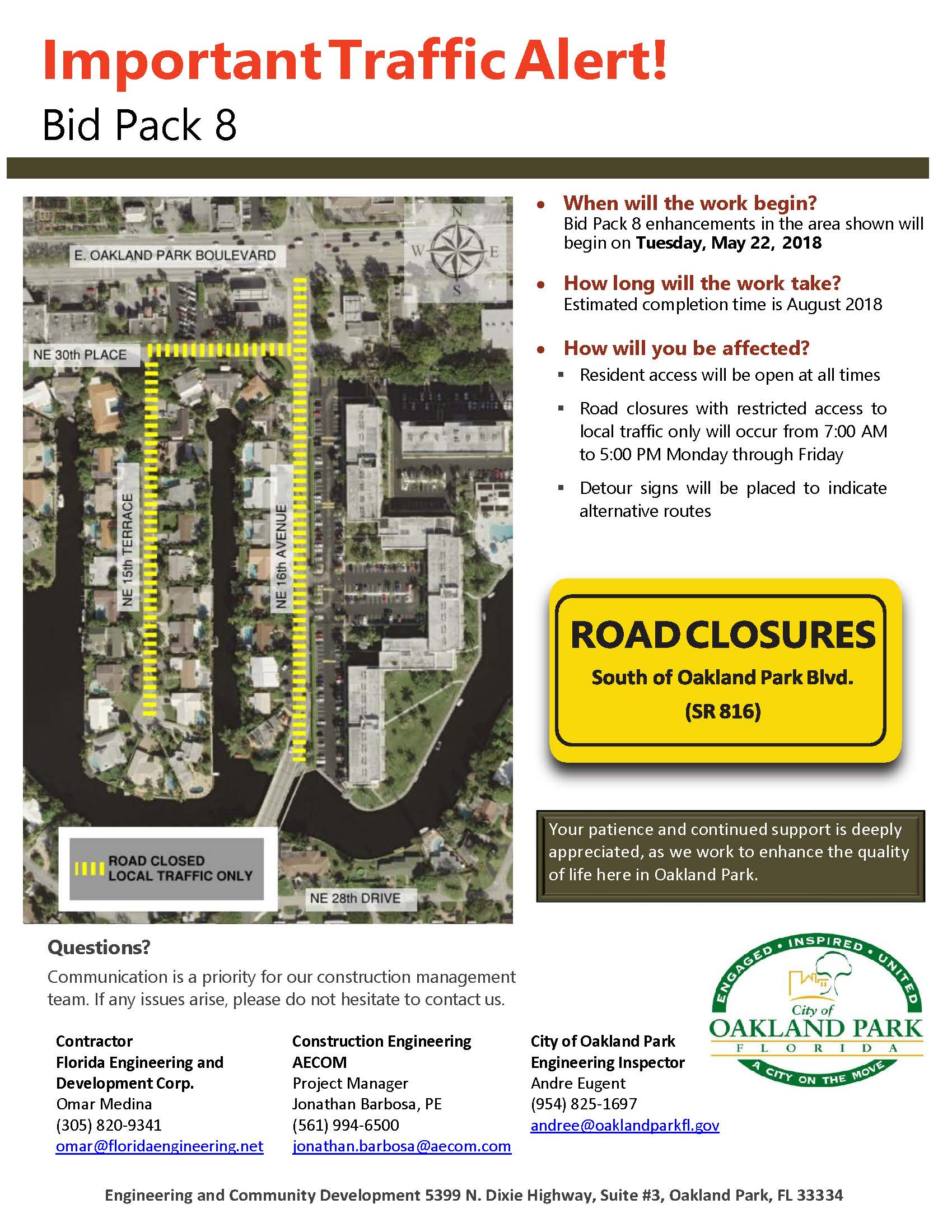 Road Closure Notice 5-22-18, 16th Avenue