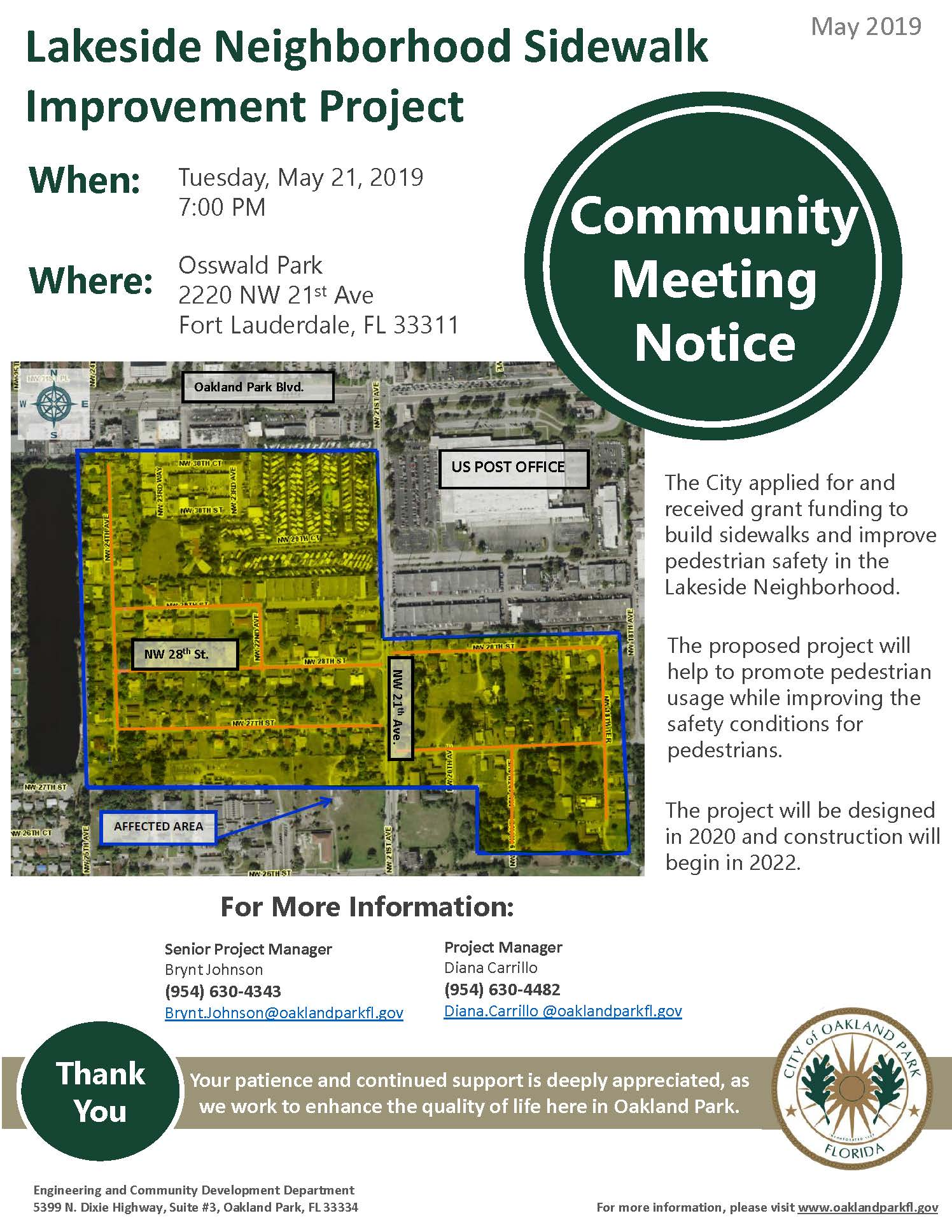 Lakeside Sidewalk Community Notice 5-21-19