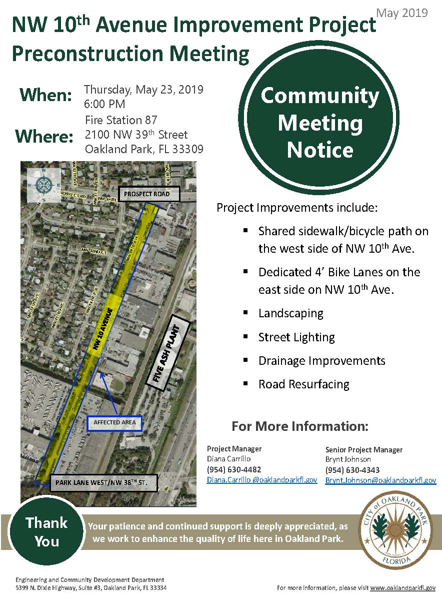 NW 10th Avenue Community Notice 5-23-19