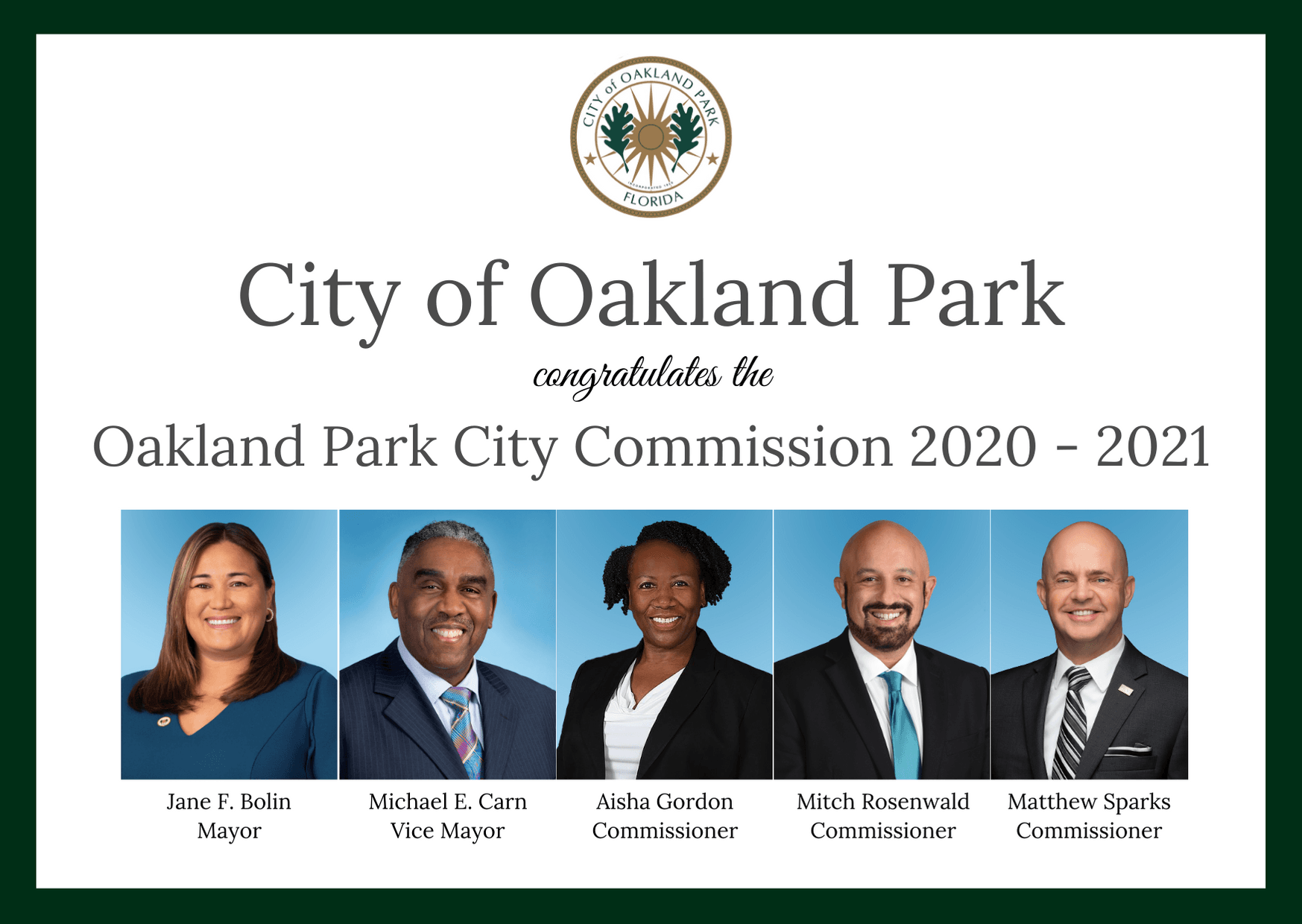 Oakland Park City Commission Congratulations