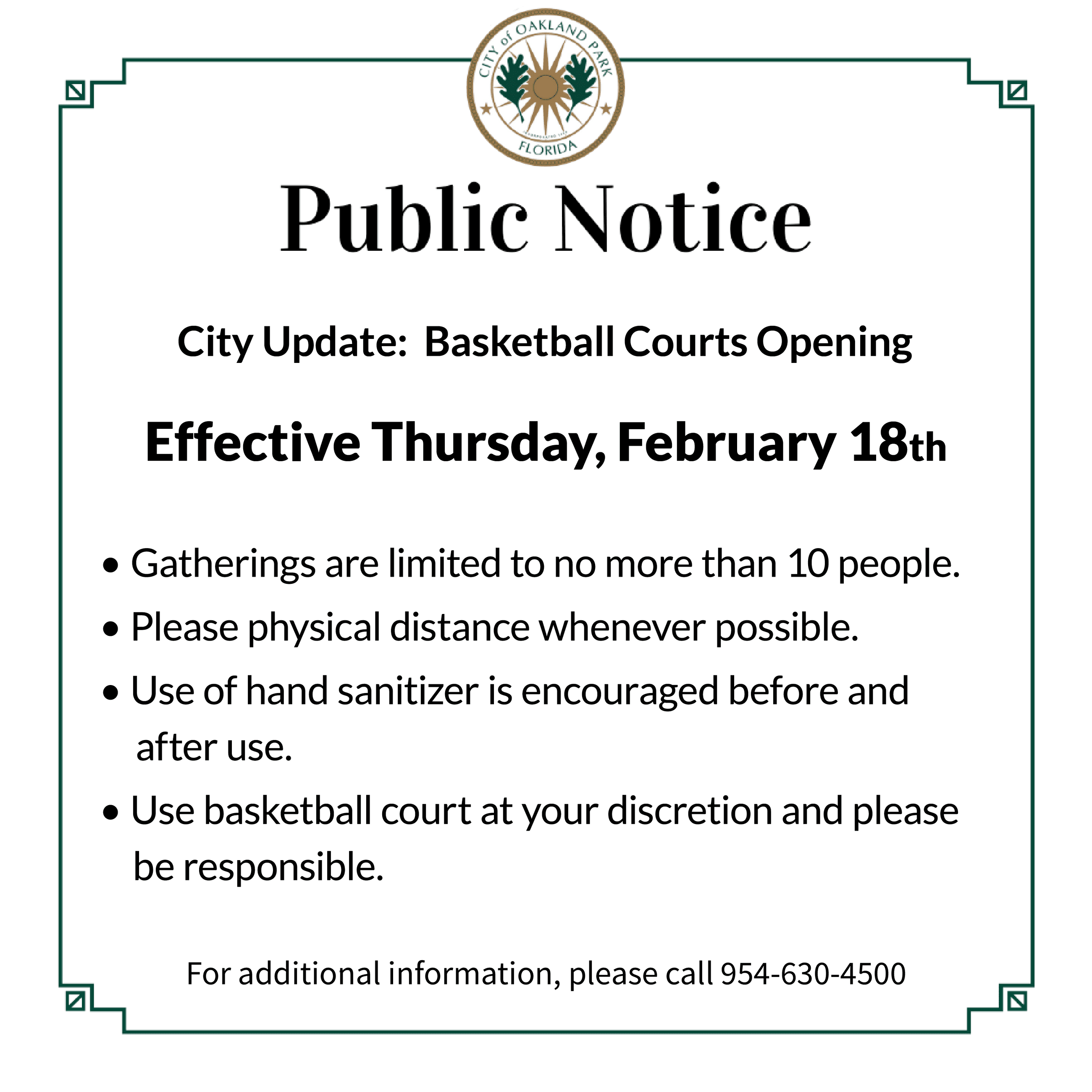 Public Notice - Basketball Courts Opening