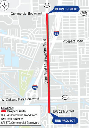 Map of FDOT Powerline Road Project
